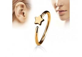 Piercing nez anneau étoile plaqué or rose