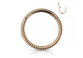 Piercing anneau segment clippé cordage doré rose