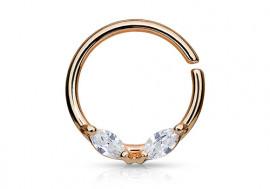 Piercing anneau aile plaqué or rose