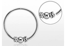 Piercing nez anneau argent massif 925 NOEUD SIMPLE ET BILLE