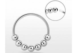 Piercing nez anneau argent massif 925 MULTI BILLE