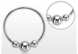 Piercing nez anneau argent massif 925 Trio de bille
