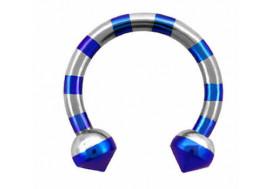 Piercing fer à cheval spikes zébrés bleus