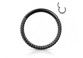 Piercing anneau segment clippé cordage noir