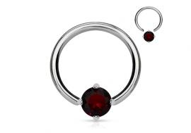 Piercing anneau BCR et pierre griffée rouge