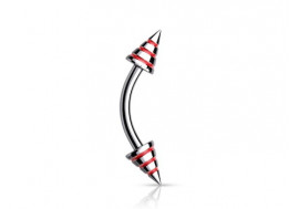 Piercing arcade Spike strié rouge