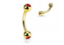 Piercing arcade plaqué or et pierre rouge
