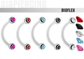 Piercing banane bioflex double gemme