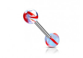 Piercing barbell hélice bleu et rouge