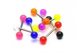 Piercing barbell acrylique UV transparent