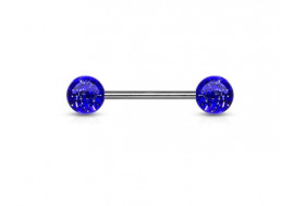 Piercing barbell paillettes bleue