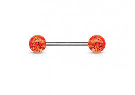 Piercing barbell paillettes orange