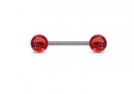 Piercing barbell paillettes rouge