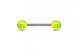 Piercing barbell paillettes verte