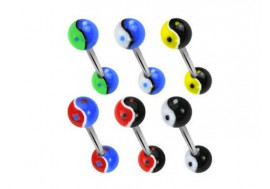 Piercing barbell acrylique Ying Yang