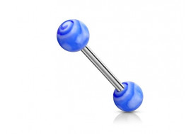 Piercing barbell tourbillon bleu