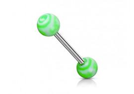 Piercing barbell tourbillon vert