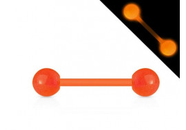 Piercing barbell acrylique phospho orange
