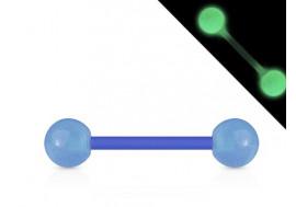 Piercing barbell acrylique phospho bleu