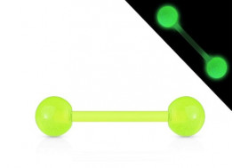 Piercing barbell acrylique phospho vert