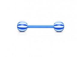 Piercing barbell acrylique flexible candy bleu