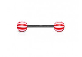 Piercing barbell acrylique candy rouge