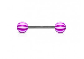 Piercing barbell acrylique candy violet