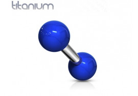 Piercing barbell titane et acrylique billes bleues