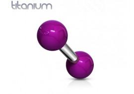 Piercing barbell titane et acrylique billes violettes