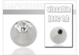 Piercing accessoire Bille cristal blanc 1.2mm