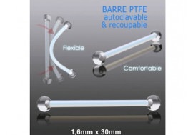Barbell PTFE billes acrylique - 1,6 x 30mm