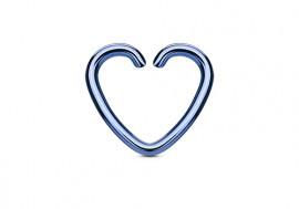 Piercing anneau coeur bleu