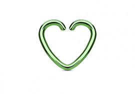 Piercing anneau coeur vert