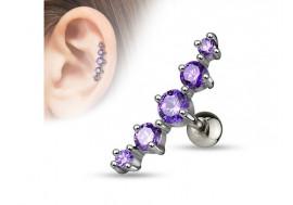 Piercing cartilage 5 pierres violettes