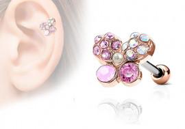 Piercing cartilage, hélix papillon strass plaqué or rose