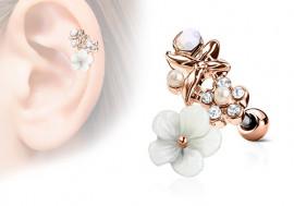Piercing cartilage, hélix fleurs et perles plaqué or rose