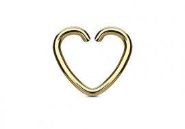 Piercing anneau coeur doré
