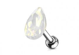 Piercing cartilage goutte opale blanc