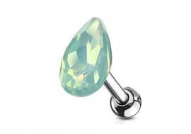 Piercing cartilage goutte opale verte