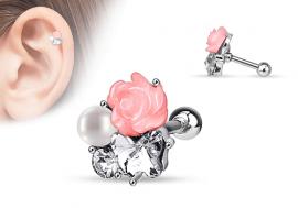 Piercing helix, cartilage et tragus rose et perle