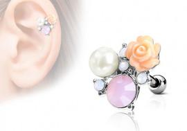 Piercing cartilage, hélix rose, perle et strass acier