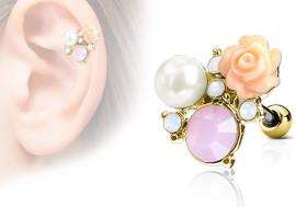 Piercing cartilage, hélix rose, perle et strass plaqué or