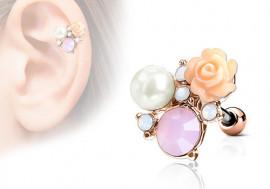 Piercing cartilage, hélix rose, perle et strass plaqué or rose
