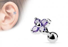 piercing cartilage : fleur violette