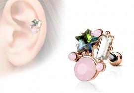 Piercing cartilage, hélix étoile et strass rectangle plaqué or rose