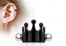Piercing cartilage couronne noire