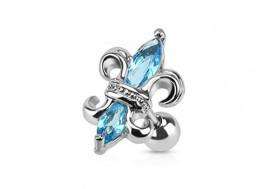 Piercing cartilage fleur de lys bleue
