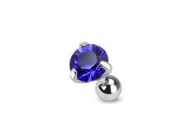 Piercing cartilage pierre griffée bleue