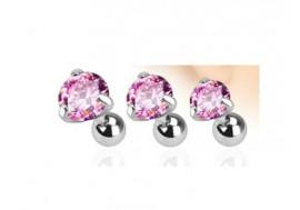Piercing cartilage pierre griffée rose