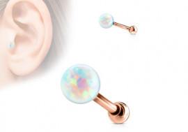 Piercing helix, cartilage, tragus opale plaqué or rose